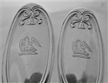 Good pair crested Victorian silver Wellington pattern spoons London 1857 George Adams