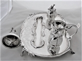 Fantastic crested Victorian silver inkstand London 1846 by the Foxes