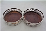 Very nice pair pierced&engraved George III silver wine coasters London 1793 Michael Plummer