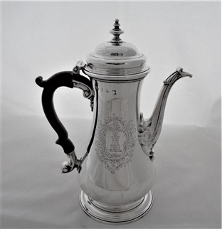 Good quality armorial & crested George II silver coffee pot London 1753 Thomas Whipham