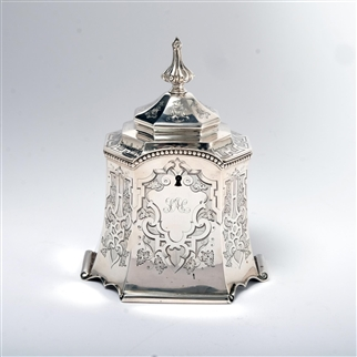 VICTORIAN HANDMADE SILVER TEA CADDY