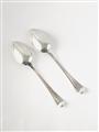 Pair antique hallmarked sterling silver old english thread pattern dessert spoons 1813