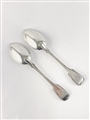 Pair Victorian hallmarked sterling silver French Fiddle and thread pattern dessert spoons 1866