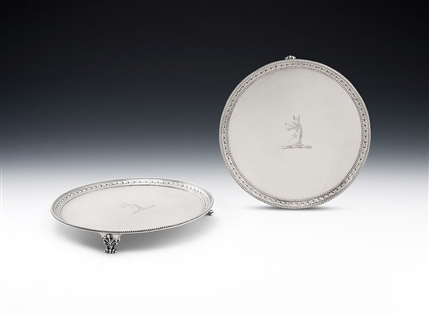 AN EXTREMELY FINE & RARE PAIR OF GEORGE III BLUE BELL DROP SALVERS MADE IN LONDON IN 1779 BY CROUCH & HANNAM.