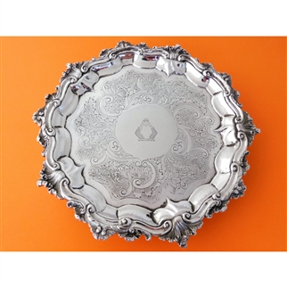 Salver - Circular with Flat Chased Decoration - London 1837 by John Wellby