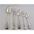 40 piece Canteen - Fiddle & Thread (8 place settings) - Hallmark: London 1838/48 by Chawner & Company