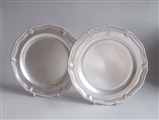 AN EXTREMELY FINE PAIR OF GEORGE II SECOND COURSE DISHES MADE IN LONDON IN 1754 BY JOHN JACOBS