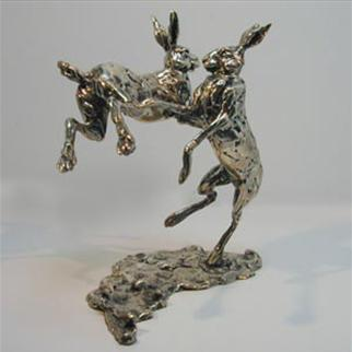 SILVER LEAPING HARES