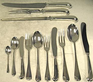 Rattail Pattern, Sterling Silver Flatware Set, With Pistol handled Knives