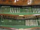 English Sterling Silver Flatware Service Fitted In Original Table Furniture. Bead Or Pearl Design