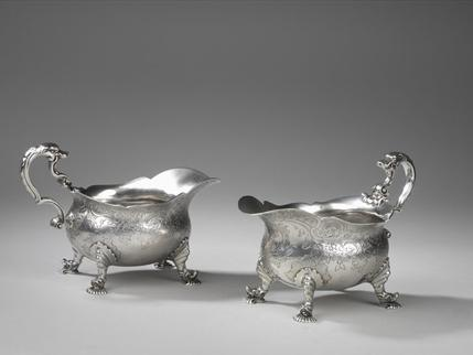 A Pair George II silver Sauceboats