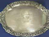 Exceptional, Cast Border Sterling Silver 2 Handled Tray