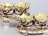 Pair Victorian electroplate double salt cellars