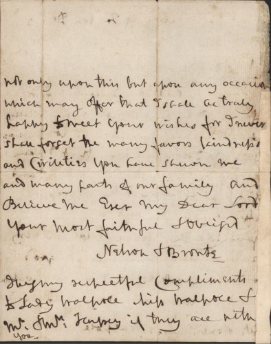 "Letter from Lord Nelson to Lord Walpole, Victory, off Toulon, 29 December 1804 discussing ""Young Nevil"". Published Nicolas ""Dispatches and Letters of Lord Nelson"" Vol. VI, p.305"
