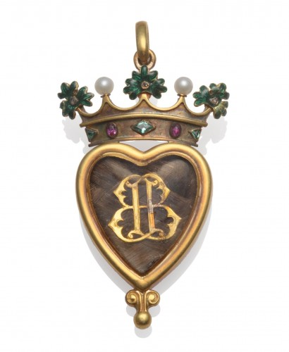 Gold, enamel and gem-set hair locket pendent for the marriage of the 4th Marquess of Bute