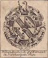 A framed late eighteenth century armorial bookplate for Hanbury