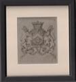 A framed 18th Century armorial print