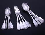 Collection of Victorian fiddle pattern sterling silver flatware