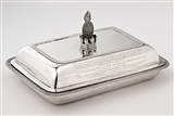 NELSON: Highly important and historic George III armorial silver entree dish and cover presented to Admiral Lord Nelson by Lloyd's Coffee House after the battle of the Nile.