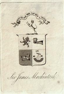A 19th century armorial bookplate for Sir James Mackintosh