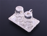 A pretty George III sterling silver inkstand