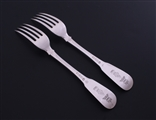 NELSON: Rare pair of George III fiddle pattern sterling silver table forks