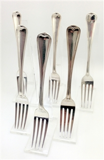 Antique George IV and Victorian Sterling Silver Assembled Set of Six Old English Thread Pattern Dessert Forks 1827, 1838-42