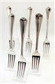 Antique George IV and Victorian Sterling Silver Assembled group of FIVE Old English Thread Pattern Dessert Forks 1827, 1838-42