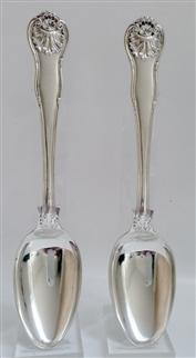 Antique George IV Sterling Silver pair Kings Husk Pattern Dessert Spoons 1823
