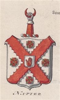 A delightful 18th century watercolour of the Napier arms