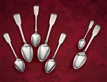 Peninsular War interest: rare matched collection of Portuguese and English fiddle pattern silver spoons