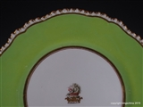 Coalport or Worcester Armorial Porcelain deep Plate Family Crest Coat Arms