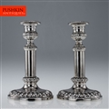 ANTIQUE 19thC RARE PAIR OF GEORGIAN SOLID SILVER TELESCOPIC CANDLESTICKS c.1809