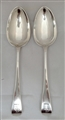 Pair of Antique Victorian Sterling Silver Hallmarked Old English Pattern Table Spoons 1838