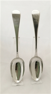Antique George IV Silver pair Old English Pattern Tablespoons 1829