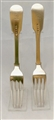 A pair of Antique William IV Sterling Silver Fiddle pattern table forks, 1833