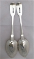 Pair Antique George IV Sterling Silver Fiddle Pattern Dessert Spoon 1823