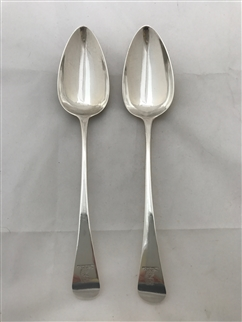 Antique George III Sterling Silver Pair Old English Pattern Tablespoons 1795