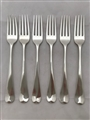 Antique Sterling Silver George III Set Six old English Pattern Dessert Forks 1800