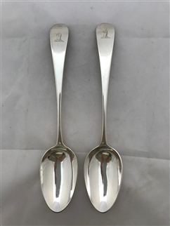 Antique Sterling Silver Pair George III Old English Pattern Tablespoons 1781