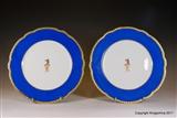 Pair PARIS Armorial PORCELAIN Plates LEEK CREST COAT ARMS