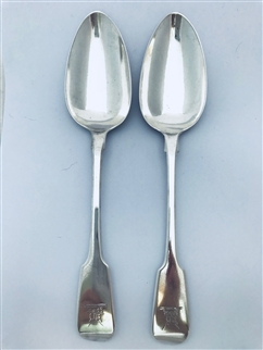 Pair Antique William IV Sterling Silver Hallmarked Fiddle Pattern Table spoons, 1836