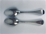 Pair Antique silver George II Silver Hanoverian Pattern Tablespoons 1757 and 1758