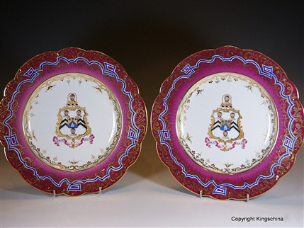Pair Documentary Armorial Porcelain BROWN WESTHEAD Plates Ridgway
