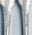 Antique George IV Hallmarked Sterling Silver Pair Fiddle Thread & Shell Pattern Table Forks 1823