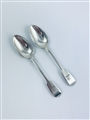 Antique William IV Hallmarked Sterling Silver Pair Fiddle Pattern Teaspoons 1836