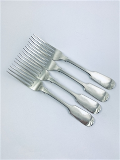 Antique Victorian Hallmarked Sterling Silver Set Four Fiddle Pattern Table Forks 1860