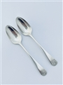 Antique George III Hallmarked Sterling Silver Pair Old English Pattern Teaspoons 1789