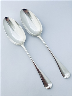 Antique George II Hallmarked Sterling Silver Pair Hanoverian Pattern Tablespoons 1756