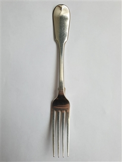 Antique George IV Hallmarked Sterling Silver Fiddle Pattern Table Fork, 1829